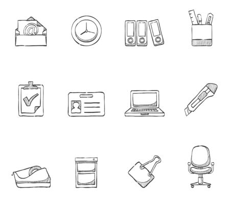 Office icons hand drawn sketches Vector