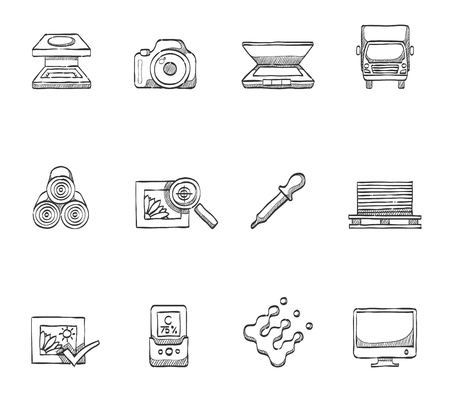 printshop: Printing shop, press icons hand drawn sketches