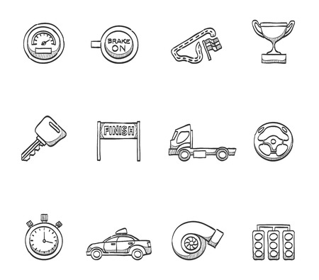 Truck racing icons in hand drawn sketches Vector