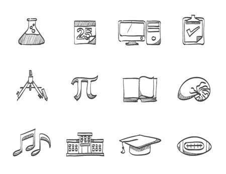 ampule: Education , study icons  hand drawn sketches