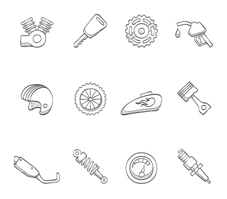 shock absorber: Motorbike, motorcycle icons  hand drawn sketches Illustration