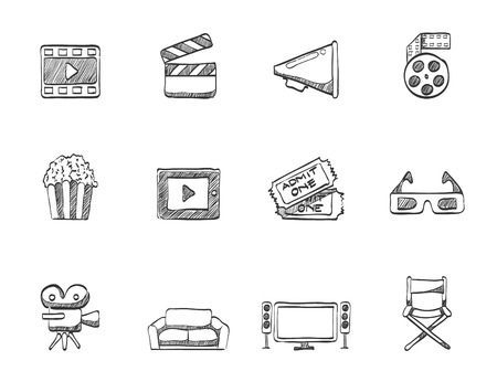 film slate: Movie and theater icons in hand drawn sketches Illustration