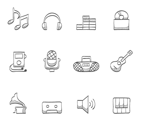 cd recorder: Music, audio icons in hand drawn sketches