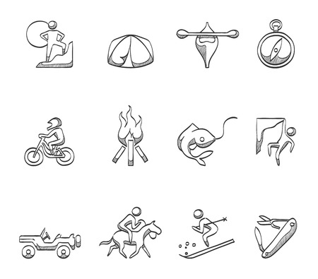 Outdoor activity icons in hand drawn sketches Vector