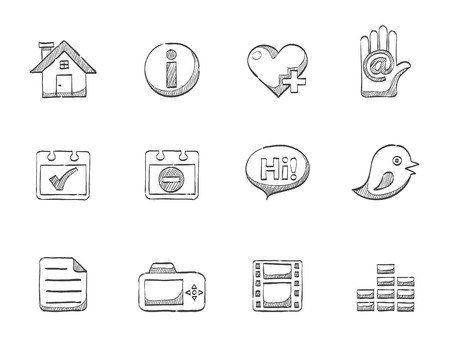 Universal sketch icons for your personal website Vector