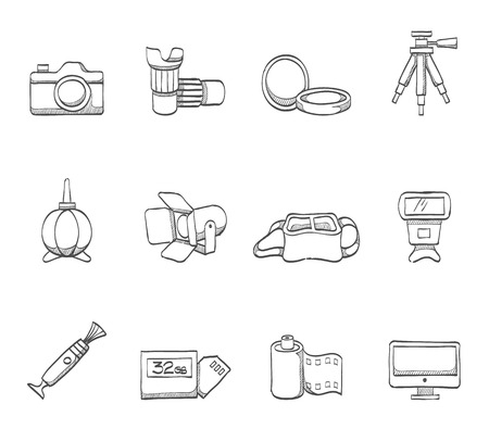 lens brush: Photography icons in hand drawn sketches