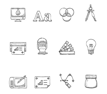 Education, study icons in hand drawn sketches Vector