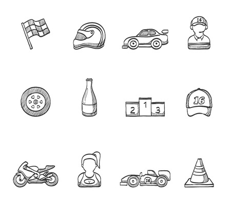 Car and motorcycle racing in hand drawn sketches Vector