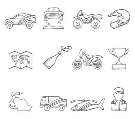 dakar: Rally competition icons hand drawn sketches