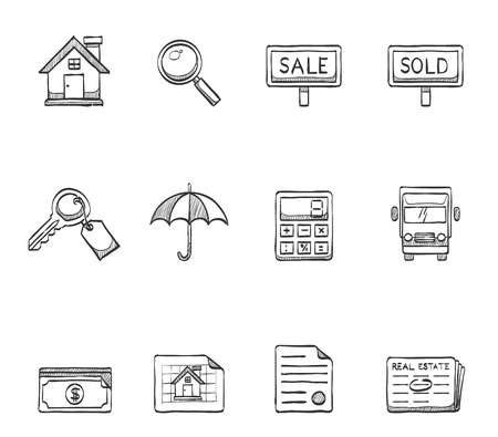 Property icons in hand drawn sketches Vector