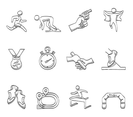 Running, sprint icons in hand drawn sketches Stock Illustratie