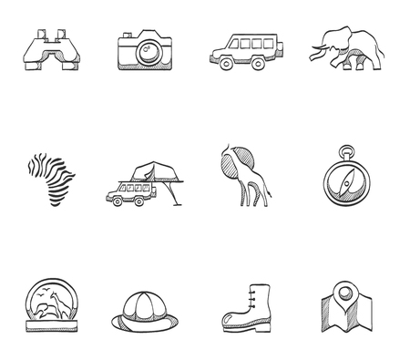 glyphs: Safari icons in hand drawn sketches Illustration