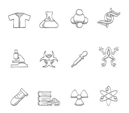 dna strands: Science icons in hand drawn sketches