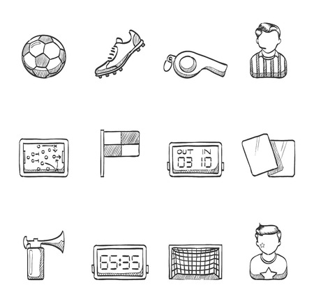 Soccer football icons hand drawn sketches