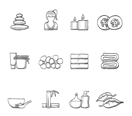 Beauty spa icons in sketches
