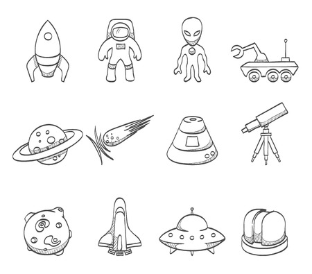 Space relaetd icons in sketches Vettoriali