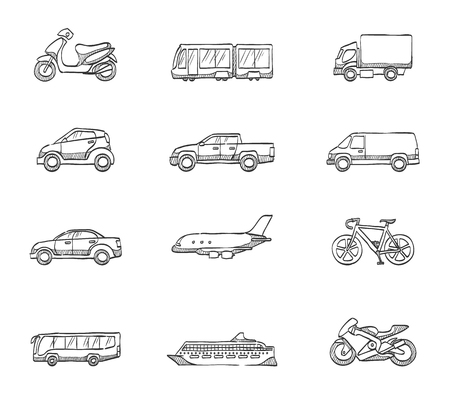 Transportation icons in sketches Vector