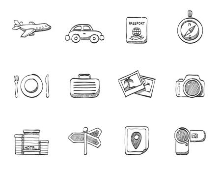 handycam: Travel related icons in sketches