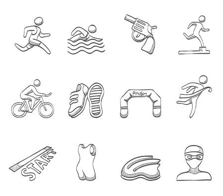 triathlon: Triathlon related icons in sketches