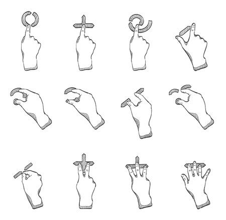 gestos: Gestos del trackpad en bocetos, dibujo a mano Vectores