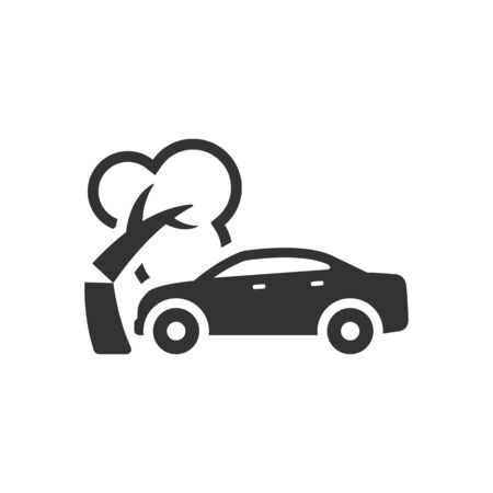insurance claim: Car crash icon in single color. Automotive accident incident insurance claim
