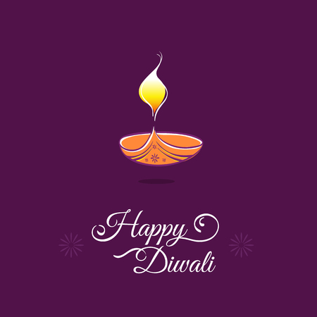 diyas: Diwali greeting card template. Happy Deepavali Indian festival lights
