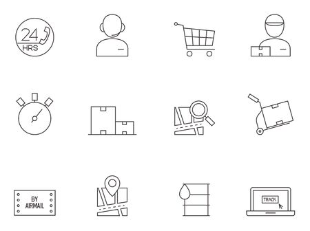 Logistic icon series in thin outlines.