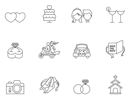 civil partnership: Wedding icons in thin outlines.
