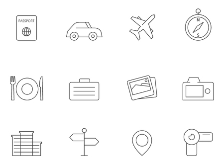 handycam: Travel icon series in thin outlines. Illustration