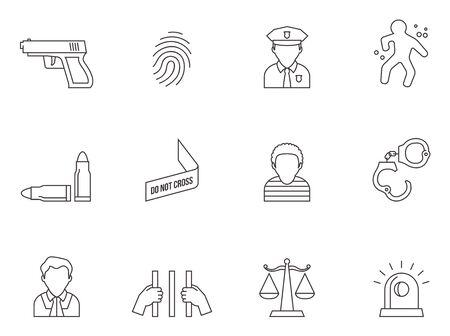 Crime icons in thin outlines.