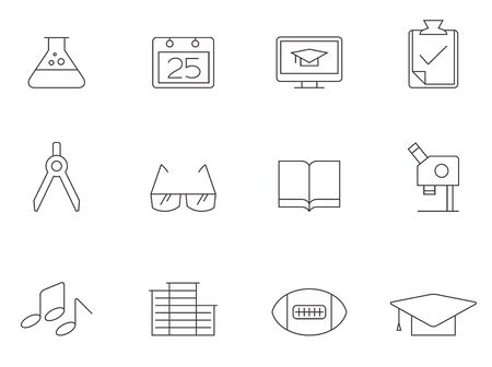 More school icon series in thin outlines. Illustration