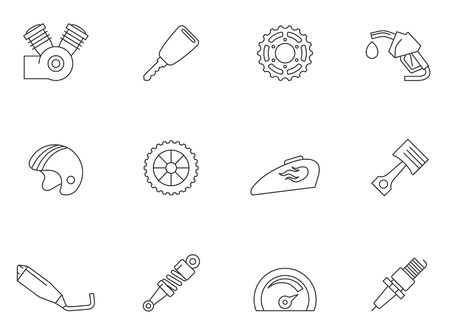 Motorcycle parts icons in thin outlines.