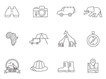 icons in thin outlines. Ilustracja