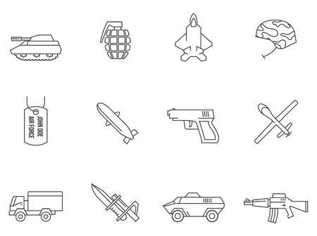 soldiers: Military icons in thin outlines. Illustration