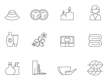 Spa related icon series in thin outlines. Illustration
