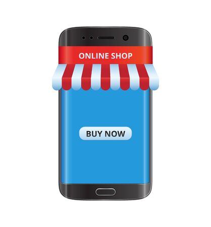Smart phone with red and white ribbon awning. Online shop. Illustration