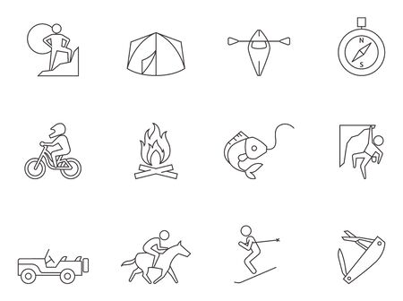 Outdoor icons in thin outlines.