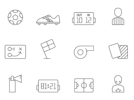 tactics: Soccer related icon series in thin outlines.