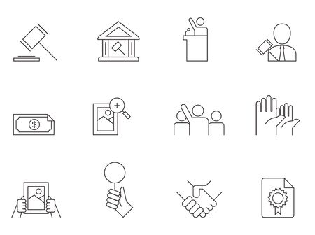 Auction icons in thin outlines. Bidding, auctioneer. Illustration