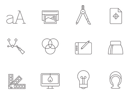 letter: Printing & graphic design icon series in thin outlines.