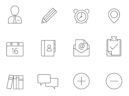 Group collaboration icon series in thin outlines.