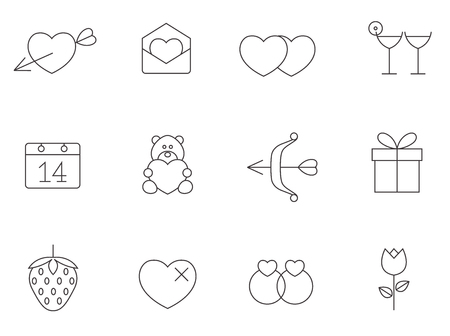 letter: Valentine related items icon series in thin outlines. Illustration