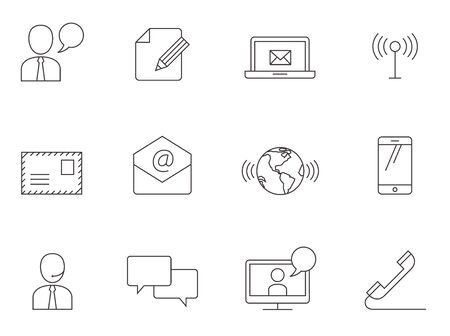 social gathering: Communication icon series in thin outlines.