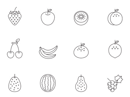 Fruit icons in thin outlines. Ilustração