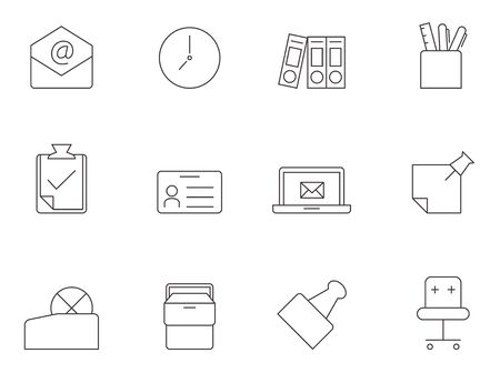 laptop: Office icon series in thin outlines.