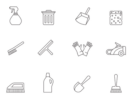 cleaning service: Cleaning tool icon series in thin outlines.