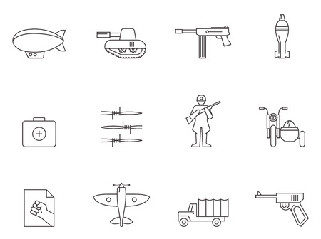 World War icons in thin outlines.