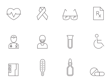 Medical icon series in thin outlines.