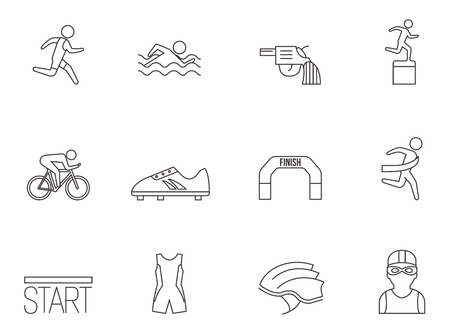 Triathlon icon series in thin outlines.