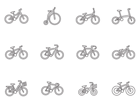 Bicycle type icons in thin outlines.